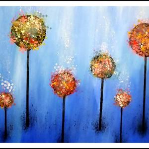 Képzeletbeli absztrakt virágos akrilfestmény, Művészet, Festmény, Festmény vegyes technika, Festészet, 50 cm x 70 cm, egyszerű, letisztult, virágos és absztrakt, Meska