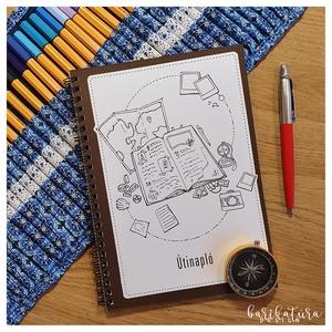 Útinapló - színezhető, Otthon & Lakás, Papír írószer, Naptár & Tervező, Könyvkötés, Fotó, grafika, rajz, illusztráció, Ez az Útinapló azoknak készült, akik a nyaralás alatt is szeretnek sokat írni, és inkább utólag jegy..., Meska