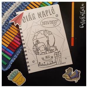 Diák naptár  2021-2022-es tanévre - színezhető - egyedi, kézzel készült, Otthon & Lakás, Papír írószer, Naptár & Tervező, Fotó, grafika, rajz, illusztráció, Könyvkötés, Ajándék ballagásra, évzáróra – egyedi és még egyedibbé tehető diáknapló. Naptár, határidők, iskolai ..., Meska