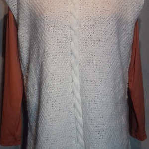 Női mellény, Mellény, Női ruha, Ruha & Divat, Kötés, Női mellény. Vékonyabb szálú fonalból kézzel kötöttem. Fehér színű.  Különlegessége a két oldala hos..., Meska
