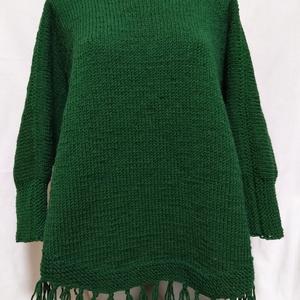 Női poncsó, Ruha & Divat, Női ruha, Poncsó, Kötés, Kézzel kötöttem ezt a gyapjú alapú, közepesen vastag fonalból, sötét zöld színű női poncsót. Készülj..., Meska