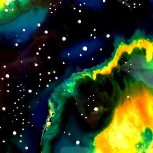 Zöld csillagköd (üvegmandala), Képzőművészet, Otthon & lakás, Festmény, Dekoráció, Kép, Festészet, Festett tárgyak, Kézzel vágott-csiszolt, 23 cm-es üveglapra festett mandala. \nKérhető nagyobb méretben is, az ár enne..., Meska