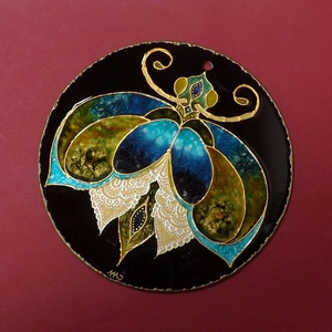 Kékes-zöldes bogaram ( üvegkép, mandala), Dekoráció, Otthon & lakás, Lakberendezés, Falikép, Festészet, Festett tárgyak, Kisebb méretű (17 cm), kézzel vágott-csiszolt üveglapra, saját minta alapján festett bogárka. Szárny..., Meska