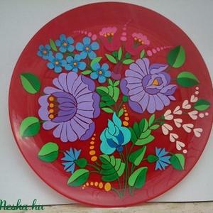 Kézzel festet kalocsai üveg tányér ., Otthon & Lakás, Konyhai dísz, Konyhafelszerelés, Egyedi ,eredeti kalocsai mintával  készült üveg tányér . Ki van égetve ,így mosogat ható . Dekoratív..., Meska