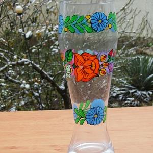 23 cm üveg váza ,kézzel festve ., Otthon & Lakás, Váza, Dekoráció, Szabad kézzel festem ,eredeti kalocsai minta alapján . Száradás után ki égetem ,így tartós . Magassá..., Meska
