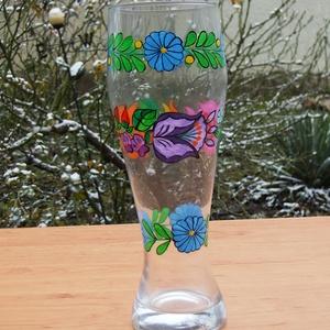 23 cm üveg váza ,kézzel festve . (bartokaniko) - Meska.hu