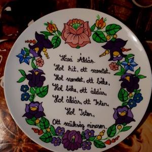 Kalocsai kézzel festett házi áldásos tál ., Otthon & Lakás, Házi áldás, Spiritualitás & Vallás, Szabad kézzel festem ,eredeti kalocsai minta alapján . Száradás után ki égetem . Falra akasztható ...., Meska