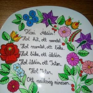 Kalocsai kézzel festett házi áldásos tányér ., Otthon & Lakás, Dekoráció, Dísztárgy, Szabad kézzel festem ,eredeti kalocsai minta alapján . Ki égetem ,tartós . A tányéron van akasztó . ..., Meska