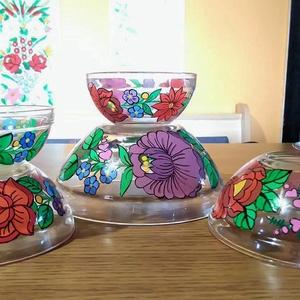 Kalocsai kézzel festett üveg tálak ., Otthon & Lakás, Konyhafelszerelés, Szabad kézzel festem ,eredeti kalocsai minta alapján . Ki égetem ,mosogatható . , Meska