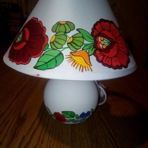 Kalocsai kézzel festett kis lámpa ., Otthon & Lakás, Lámpa, Asztali lámpa, Szabad kézzel festem ,eredeti kalocsai minta alapján . , Meska