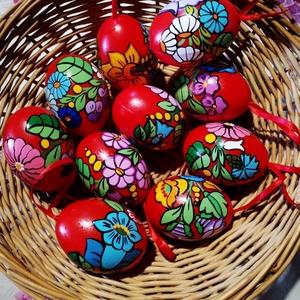 Kalocsai kézzel festett müanyag tojás 6 cm ,10 db ., Otthon & Lakás, Dekoráció, Szabad kézzel festem ,kalocsai minta alapján . Lakkozásal fixálom ., Meska