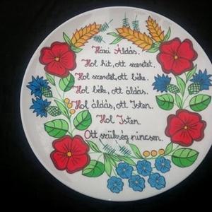 Kalócsai kézzel festett álldásós tányér , Otthon & Lakás, Dekoráció, Szabad kézzel festem ,eredeti kalocsai minta alapján . , Meska
