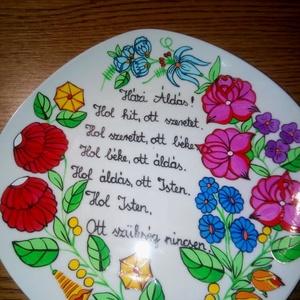 Kalocsai kézzel festett álldásos tányér., Otthon & Lakás, Dekoráció, Szabad kézzel festem ,eredeti kalocsai minta alapján ., Meska