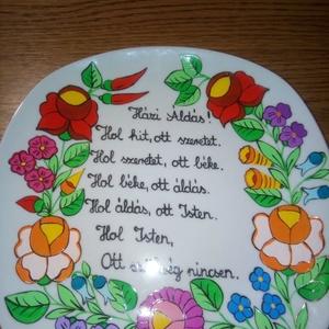 Kalocsai kézzel festett áldásós tányér ., Otthon & Lakás, Dekoráció, Szabad kézzel festem ,ki égetem ., Meska