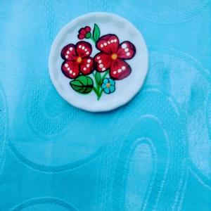 Kalocsai kézzel festett porcelán kitányér hütömágnes ., Otthon & Lakás, Konyhafelszerelés, Hűtőmágnes, Festett tárgyak, Meska