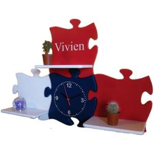 Gyerek fali polc, puzzle alakú, gravírozott egyedi felirattal (batadecor) - Meska.hu