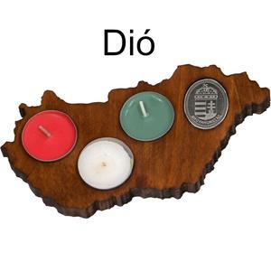 Fa gyertyatartó, Magyarország alakú, Otthon & Lakás, Gyertya & Gyertyatartó, Dekoráció, Gyertya vagy mécses tartó (piros, fehér, zöld teamécsesekkel). Dió vagy mahagóni színben.  Legyen ot..., Meska