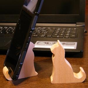 Mobiltelefon tartó, cicás, bükkfából, Táska & Tok, Laptop & Tablettartó, Ebook & Tablet tok, Nézd meg kedvec videóid a mobilon. Helyezd ebbe az aranyos telefon tartóba. Bükkfából készül. A cica..., Meska