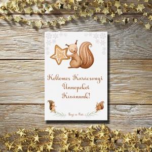 Karácsonyi képeslap - állatos, mókusos üdvözlőlap - Boldog Karácsonyt!, Karácsonyi képeslap, Karácsony & Mikulás, Fotó, grafika, rajz, illusztráció, Papírművészet, Karácsonyi képeslap, üdvözlőlap állatos mintával.\n\nKüldj egyedi karácsonyi képeslapot szeretteidnek!..., Meska