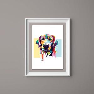 Golden retriever falikép - modern design, Otthon & Lakás, Dekoráció, Kép & Falikép, Fotó, grafika, rajz, illusztráció, Papírművészet, Golden retriever falikép modern designnal ötletes ajándék állatbarátoknak.\n\nAz ár 1db-os kép szettre..., Meska