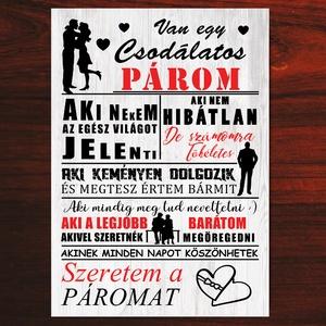 Csodálatos férj falikép - Szeretem a férjemet falikép, házassági évforduló, karácsony, szülinap, névnap ajándék (BBdesign) - Meska.hu