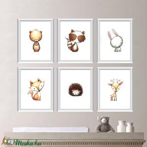 Babaszoba fali dekoráció, maci, szarvas, róka, nyuszi, mosómedve, süni fali kép A4 méretben, Gyerek & játék, Gyerekszoba, Baba falikép, Dekoráció, Otthon & lakás, Fotó, grafika, rajz, illusztráció, Papírművészet, Babaszoba | Gyerekszoba fali képek, állatos képek KERET NÉLKÜL, A4 méretben.\n\nAz ár 1 db-os képre vo..., Meska