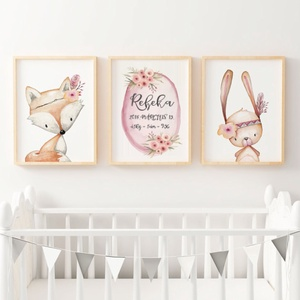 Babaszoba fali dekoráció, állatos - róka, nyuszi, őzike fali kép A4 méretben, Gyerek & játék, Gyerekszoba, Baba falikép, Dekoráció, Otthon & lakás, Fotó, grafika, rajz, illusztráció, Papírművészet, Babaszoba | Gyerekszoba fali kép személyes adatokkal, állatos - róka, nyuszi,- képek KERET NÉLKÜL, A..., Meska