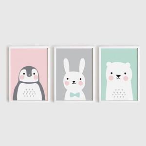 Babaszoba fali dekoráció, maci, pingvin, nyuszi A4 méretben, keret nélkül, Gyerek & játék, Gyerekszoba, Baba falikép, Dekoráció, Otthon & lakás, Fotó, grafika, rajz, illusztráció, Papírművészet, Babaszoba | Gyerekszoba fali képek, állatos képek keret nélkül\n\nAz ár, a 3 db-os képszettre vonatkoz..., Meska