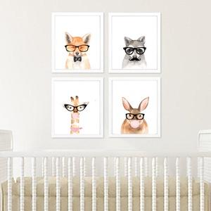 Babaszoba fali dekoráció, vicces hipster állatos - róka, mosómedve, nyuszi, zsiráf fali kép A4 méretben keret nélkül, Kép & Falikép, Dekoráció, Otthon & Lakás, Fotó, grafika, rajz, illusztráció, Papírművészet, Babaszoba fali dekoráció, vicces hipster állatos - róka, mosómedve, nyuszi, zsiráf fali kép A4 méret..., Meska