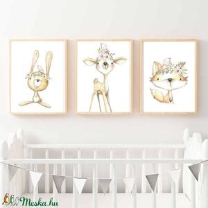 Babaszoba fali dekoráció, állatos - róka, nyuszi, őzike fali kép A4 méretben, Gyerek & játék, Gyerekszoba, Baba falikép, Dekoráció, Otthon & lakás, Fotó, grafika, rajz, illusztráció, Papírművészet, Babaszoba | Gyerekszoba fali képek, állatos - róka, nyuszi, őzike - képek KERET NÉLKÜL, A4 méretben...., Meska