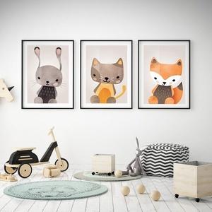 Babaszoba fali dekoráció, nyuszi, cica, róka falikép A4 méretben, keret nélkül, Gyerek & játék, Gyerekszoba, Baba falikép, Dekoráció, Otthon & lakás, Fotó, grafika, rajz, illusztráció, Papírművészet, Babaszoba fali dekoráció, nyuszi, cica, róka falikép A4 méretben, keret nélkül\n\nAz ár a 3 db-os kép ..., Meska