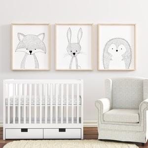 Babaszoba fali dekoráció, állatos falikép fekete-fehérben- róka, nyuszi, süni -  A4 méretben, keret nélkül, Gyerek & játék, Gyerekszoba, Baba falikép, Dekoráció, Otthon & lakás, Fotó, grafika, rajz, illusztráció, Papírművészet, Babaszoba fali dekoráció, állatos falikép fekete-fehérben- róka, nyuszi, süni -  A4 méretben, keret ..., Meska