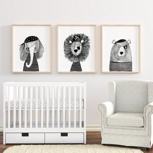 Babaszoba fali dekoráció, állatos falikép fekete-fehér kalózok - elefánt, oroszlán, maci  -  A4 méretben, keret nélkül, Gyerek & játék, Gyerekszoba, Baba falikép, Dekoráció, Otthon & lakás, Fotó, grafika, rajz, illusztráció, Papírművészet, Babaszoba fali dekoráció, állatos falikép fekete-fehér kalózok - elefánt, oroszlán, maci  -  A4 mére..., Meska