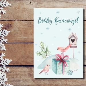 Karácsonyi képeslap - Madárkás - Boldog Karácsonyt, Kellemes Karácsonyi Ünnepeket!, Karácsonyi képeslap, Karácsony & Mikulás, Fotó, grafika, rajz, illusztráció, Papírművészet, Karácsonyi képeslap - Madárkás - Boldog Karácsonyt, Kellemes Karácsonyi Ünnepeket!\n\nKüldj egyedi kar..., Meska