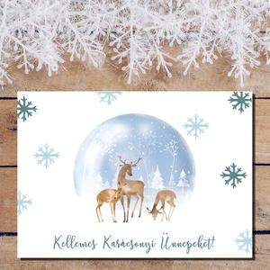 Karácsonyi képeslap - Állatos, őzike, szarvas díszgömb- Boldog Karácsonyt, Kellemes Karácsonyi Ünnepeket!, Otthon & Lakás, Karácsony & Mikulás, Karácsonyi képeslap, Fotó, grafika, rajz, illusztráció, Papírművészet, Karácsonyi képeslap - Állatos, őzike, szarvas díszgömb- Boldog Karácsonyt, Kellemes Karácsonyi Ünnep..., Meska