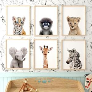 Babaszoba / Gyerekszoba falikép élethű bébi állatok, tigris, majom, oroszlán, elefánt, zsiráf, zebra keret nélkül, Gyerek & játék, Gyerekszoba, Baba falikép, Fotó, grafika, rajz, illusztráció, Babaszoba | Gyerekszoba fali kép\n\nBabaszoba / Gyerekszoba falikép élethű bébi állatok, tigris, majom..., Meska