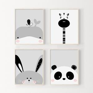 Babaszoba / Gyerekszoba falikép, cuki állatkákkal bálna, zsiráf, nyuszi, panda A4 méretben, KERET NÉLKÜL, Gyerek & játék, Gyerekszoba, Baba falikép, Fotó, grafika, rajz, illusztráció, Babaszoba / Gyerekszoba falikép, cuki állatkákkal bálna, zsiráf, nyuszi, panda A4 méretben, KERET NÉ..., Meska