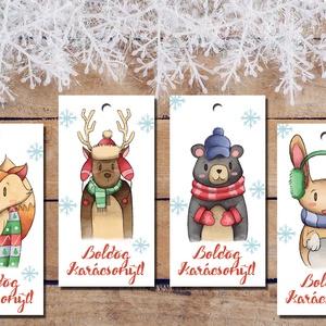Karácsonyi ajándékkísérő kártyák, állatos, nyuszi, róka, maci, szarvas - Boldog Karácsonyt felirattal, Otthon & Lakás, Karácsony & Mikulás, Karácsonyi képeslap, Fotó, grafika, rajz, illusztráció, Papírművészet, Karácsonyi ajándékkísérő kártyák, állatos, nyuszi, róka, maci, szarvas - Boldog Karácsonyt feliratta..., Meska