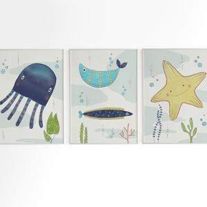 Babaszoba fali dekoráció, tengeri állatos - polip, halacska, tengeri csillag - fali kép A4 méretben, keret nélkül, Gyerek & játék, Gyerekszoba, Baba falikép, Dekoráció, Otthon & lakás, Fotó, grafika, rajz, illusztráció, Papírművészet, Babaszoba fali dekoráció, tengeri állatos - polip, halacska, tengeri csillag - fali kép A4 méretben,..., Meska