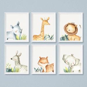 Babaszoba fali dekoráció, - orrszarvú, zsiráf, oroszlán, zebra, tigris elefánt -  fali kép A4 méretben, keret nélkül, Gyerek & játék, Gyerekszoba, Baba falikép, Dekoráció, Otthon & lakás, Fotó, grafika, rajz, illusztráció, Papírművészet, Babaszoba fali dekoráció, - orrszarvú, zsiráf, oroszlán, zebra, tigris elefánt -  fali kép A4 méretb..., Meska