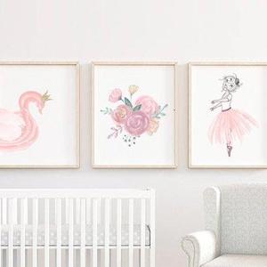 Babaszoba lányos fali dekoráció, - hattyú, rózsák, balerina-  fali kép A4 méretben, keret nélkül, Gyerek & játék, Gyerekszoba, Baba falikép, Otthon & lakás, Dekoráció, Fotó, grafika, rajz, illusztráció, Papírművészet, Babaszoba lányos fali dekoráció, - hattyú, rózsák, balerina-  fali kép A4 méretben, keret nélkül\n\nAz..., Meska