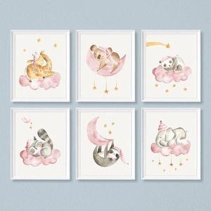 Babaszoba fali dekoráció, - zsiráf, lajhár, elefánt, panda, koala, mosómaci-  fali kép A4 méretben, keret nélkül, Otthon & Lakás, Falra akasztható dekor, Dekoráció, Fotó, grafika, rajz, illusztráció, Papírművészet, Babaszoba fali dekoráció, - zsiráf, lajhár, elefánt, panda, koala, mosómaci-  fali kép A4 méretben,..., Meska