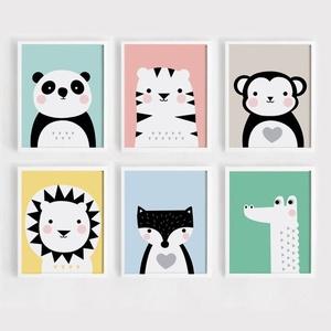 Babaszoba / Gyerekszoba falikép, cuki állatkákkal panda, tigris, majom, oroszlán, róka, krokodil, A4, KERET NÉLKÜL, Gyerek & játék, Gyerekszoba, Baba falikép, Fotó, grafika, rajz, illusztráció, Babaszoba / Gyerekszoba falikép, cuki állatkákkal panda, tigris, majom, oroszlán, róka, krokodil, A4..., Meska