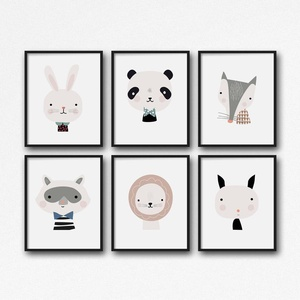 Babaszoba / Gyerekszoba falikép, skandináv stílusú állatok - nyuszi, panda, róka, mosómedve, oroszlán, kecske - A4 méret, Kép & Falikép, Dekoráció, Otthon & Lakás, Fotó, grafika, rajz, illusztráció, Babaszoba / Gyerekszoba falikép, skandináv stílusú állatok - nyuszi, panda, róka, mosómedve, oroszlá..., Meska