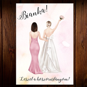 Különleges esküvői tanú / koszorúslány felkérő lap , Meghívó, Meghívó & Kártya, Esküvő, Fotó, grafika, rajz, illusztráció, Papírművészet, Különleges Esküvői tanú / koszorúslány felkérő lap, mely személyreszabott illusztrációt tartalmaz ró..., Meska