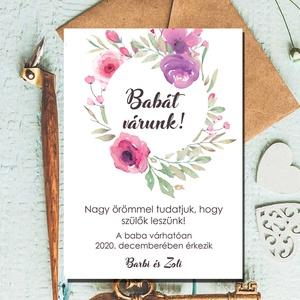 Babát várunk képeslap - Baba bejelentés - bababejelentő képeslap , Gyerek & játék, Baba-mama kellék, Otthon & lakás, Naptár, képeslap, album, Képeslap, levélpapír, Fotó, grafika, rajz, illusztráció, Papírművészet, Babát várunk képeslap - Baba bejelentés - bababejelentő képeslap \nTedd különlegessé az alkalmat, ami..., Meska