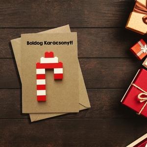 Karácsonyi vicces, kreatív cukorka, édesség képeslap eredeti legóval - Karácsonyi ajándék, legóval képeslap, kinyitható, Karácsonyi képeslap, Karácsony & Mikulás, Otthon & Lakás, Fotó, grafika, rajz, illusztráció, Papírművészet, Karácsonyi vicces, kreatív cukorka, édesség képeslap eredeti legóval - Karácsonyi ajándék, legóval k..., Meska