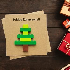Karácsonyi vicces, kreatív karácsonyfás képeslap eredeti legóval - Karácsonyi ajándék, legóval képeslap, kinyitható, Karácsonyi képeslap, Karácsony & Mikulás, Fotó, grafika, rajz, illusztráció, Papírművészet, Karácsonyi vicces, kreatív karácsonyfás képeslap eredeti legóval - Karácsonyi ajándék, legóval képes..., Meska