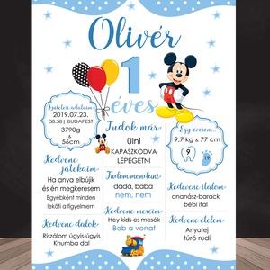 Első szülinapi poszter - Baba poszter, születésnap, mérföldkő, ajándék első szülinapra, Mickey Mouse dizájn, Otthon & Lakás, Dekoráció, Kép & Falikép, Fotó, grafika, rajz, illusztráció, Papírművészet, Első szülinapi poszter - Baba poszter, születésnap, mérföldkő, ajándék első szülinapra, Mickey Mouse..., Meska