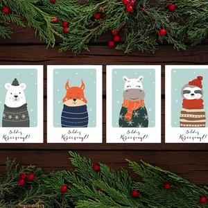 Karácsonyi állatos képeslap - cuki állatok téli szettben - Boldog Karácsonyt, Kellemes Karácsonyi Ünnepeket!, Otthon & Lakás, Karácsony & Mikulás, Karácsonyi képeslap, Fotó, grafika, rajz, illusztráció, Papírművészet, Karácsonyi állatos képeslap - cuki állatok téli szettben - Boldog Karácsonyt, Kellemes Karácsonyi Ün..., Meska
